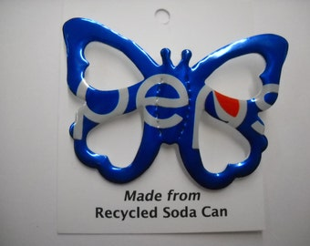 Butterfly Magnet Pepsi Recycled Soda Can Pop Can Refrigerator Teachers