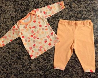 Infant baby play set - handmade baby clothes - baby girl clothing - Nicki's Rainbow clothing - Free USA shipping - organic 2 piece set - 0/3
