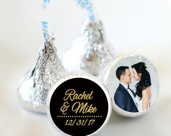 108 Hershey Kiss® Stickers, Gold Heart Hershey Kiss Stickers Wedding, Personalized Kiss Labels, Wedding Favors, Wedding Kiss Seals