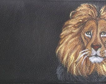 Lion Hand Painted Leather Checkbook Cover checkbook holder