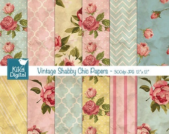 Vintage Shabby Chic Digital Papers - Textured Scrapbooking Paper - card design, invitations, paper crafts - INSTANT DOWNLOAD