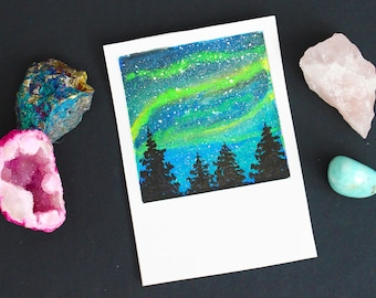 Northern Lights, Original, Gouache Painting, ATC, ACEO
