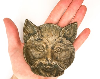 Antique Cast Bronze Cat Face Ring Dish
