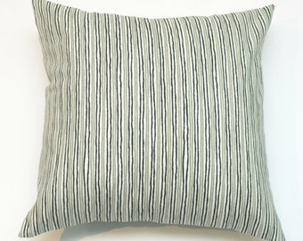 """Sample Sale Decorative Throw Pillow Cover Gray with Black Stripe  18"""" x 18"""" Cover"""