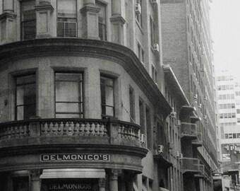 Delmonico's, New York Photography, New York Black & White, Old New York City, Vintage Decor, Financial District, Urban Photography