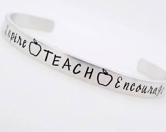 Teacher Gift, Adjustable , Handstamped Bracelet, Teach, Inspire, Enrich, Love, Kindergarden, Preschool, early childhood education gift