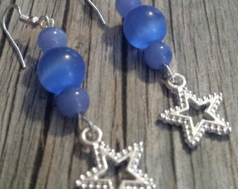 Blue and Silver Star Earrings, Blue Glass Bead Earrings, Star Earrings, Silver Star Earrings, Silver Dangle Earrings, Blue Glass Beads