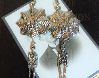 Spider Web earrings, skeletons and spiderwebs, Halloween