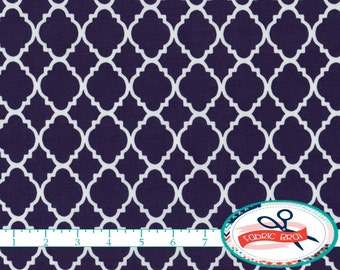 NAVY BLUE MOROCCAN Fabric by the Yard, Fat Quarter Quatrefoil Fabric Navy Fabric Quilting Fabric 100% Cotton Fabric Apparel Fabric w4-6
