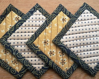 Quilted Coaster Set - Butter Yellow Flowers and Polka Dots
