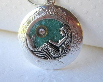 Mermaid Locket, Mermaid Jewelry, Silver Mermaid, Locket Jewelry, Blue Mermaid, Mermaid Necklace, Valentine Gift