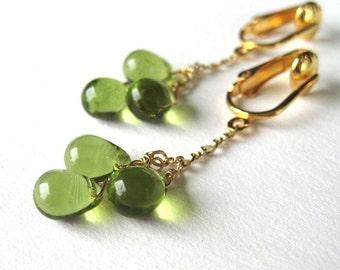 Gold Clip On Earrings, Olive Green Teardrop Clip Earrings, Avocado Green Glass Drop Trio, Gold Chain Pendant Clipons, Handmade Golden Clover