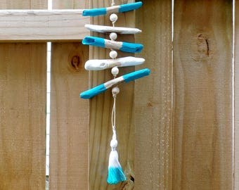Blue Driftwood Mobile - Beach Decor - Driftwood Hanging - Beach Mobile - Coastal Decor - Beach House - Free US Shipping