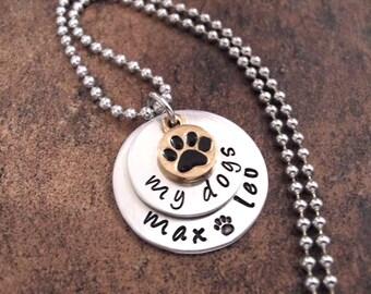 Dog Jewelry, Dog Lover Jewelry, My Dogs, Personalized Dog Jewelry, Hand Stamped Jewelry, Dog Necklace, Pet Necklace, Animal Jewelry