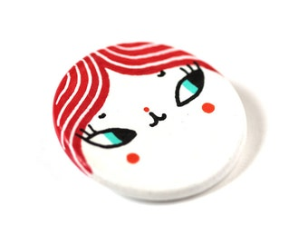 Handpainted wooden brooch -  cute character with red hair - Renee- round, disc, circle - kawaii brooch