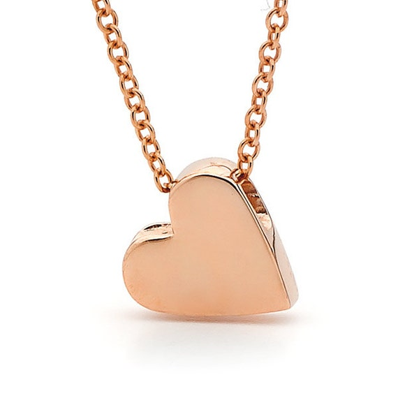 Heart necklace solid rose gold baby heart mozeypictures Image collections