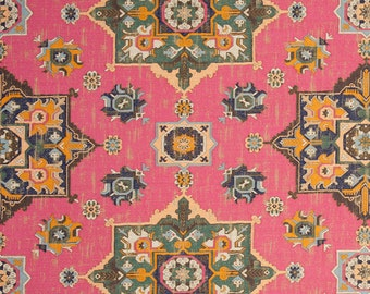 Pink Woven Tapestry Upholstery Fabric - Textured Pink Green Heavyweight Ikat Kilim Fabric - Custom Pink Kilim Pillow Covers - Navajo Fabrics