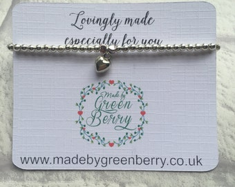 NEW** madebygreenberry Beaded Bracelet complete with 3D heart charm - made to order