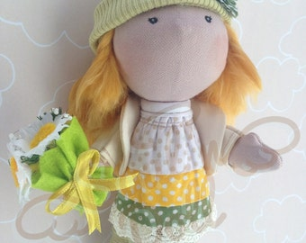 Flora - Custom Made Cloth Doll, Handmade Art Doll, Personal Gift