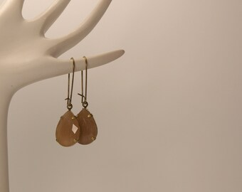 Pear Cut Caramel Dyed Jade Faceted Gemstone Charms,  Vintage Style Earrings, Antique Bronze/Brass Earwires