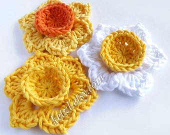 Crochet flower patterns crochet applique patterns flower crochet pattern crochet daffodil pattern
