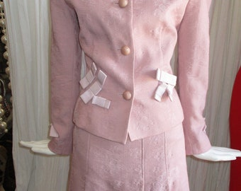 1990 Moschino Blush Pink Suit Bows Cheap Chic Collection Bridal