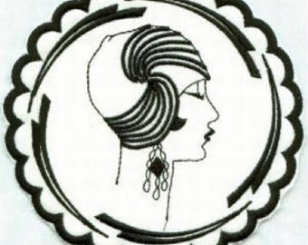 Deco Ladies Coasters Set 2 - Art Deco - 4x4 hoop - Machine Embroidery