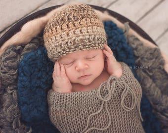 Newborn Boy Hat, Baby Hospital Hat, Baby Boy Beanie, Baby Coming Home Hat, Crochet Baby Button Hat, Baby Boy Cap, Browns