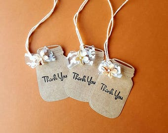 MASON JAR Thank You Tags, 12 Kraft Thank You Tags, Mason Jar Favor Tags, Wedding Thank You Tags, Kraft Mason Jar Tags, Rustic Wedding Tags