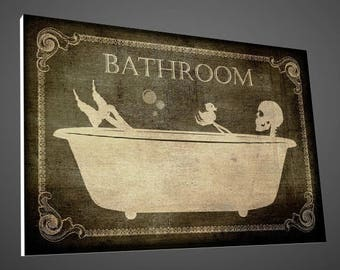 skeleton bathroom sign,bathroom sign,bathroom Décor,skeletons sign,skulls signs,home Décor,bathroom art,Bath Decor,Signs,vintage signs