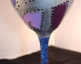 Custom hand-painted wine glass