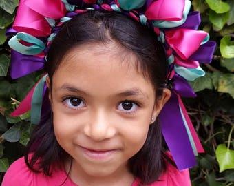 Girl mexican doll headband, headpiece, party flower girl, mexican part, ribbons, braidGirl mexican  head band