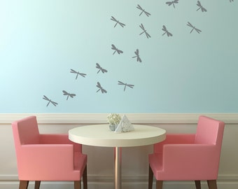 Dragonfly Vinyl Wall Decals, Childrens Wall Art, Girls Bedroom, Dragonflies Decals