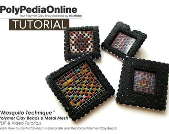 Polymer Clay Tutorial, Polymer Clay Brooch, Necklace Tutorial, DIY Beads, Video Tutorial, Polymer Clay Beads, Jewelry Tutorial, Handmade