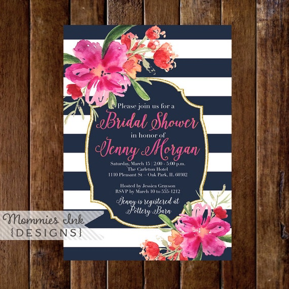 Bridal shower invitation navy blue and white stripes shower bridal shower invitation navy blue and white stripes shower invitation gold glitter bridal shower watercolor floral tropical invite filmwisefo Images