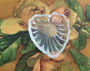 Heart Ring Dish Vintage Glass Jewelry Tray