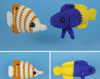 PDF Tropical Fish Set 3 - two amigurumi fish CROCHET PATTERNS Copperband Butterflyfish Royal Gramma