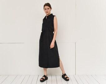 vintage black front button midi dress belted grunge maxi vest dress small size by VERO MODA