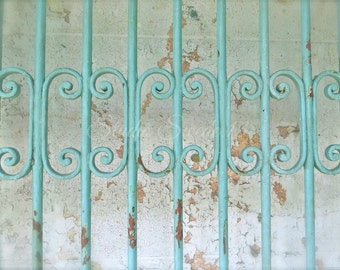 """Gate Photography, Architectural Print, Shabby and Chic Art, Rustic Cottage Print, Farmhouse, Peeling Paint Print, Abstract Art- """"Aqua Gate"""""""