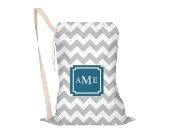Laundry Bag, Oversided Drawstring Bag, Laundry Tote, Laundry Drawstring Bag, Monogrammed, Personalized, Chunky Chevron