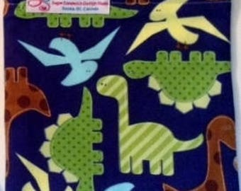 Snack Bags DINOSAUR Re-Usable Washable with Closure Options