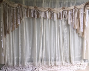 Custom 10' by 6' arch backdrop Burlap, Fabric & Lace Garland.