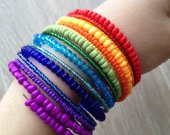 Rainbow bracelet/ Rainbow jewelry/ Rainbow bead bracelet/ Memory wire bracelet/ Rainbow wire bracelet/ Beaded jewelry/ Beaded bracelet
