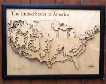 Rivers of America Map Poster Print Screenprint River Map of