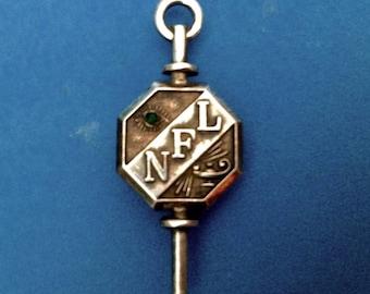 "Vintage! Vintage fraternal pin pendant sterling silver green stone eye ""NFL"" Aladdin lamp"