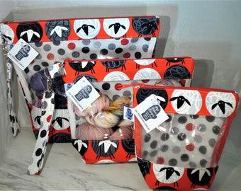 Alls Wool Red Sheep - Knitting Project Bag, Zippered Project Bag, Knitting Wedge Bag, Yarn Tote Bag, Yarn Bag, Knitting bag,