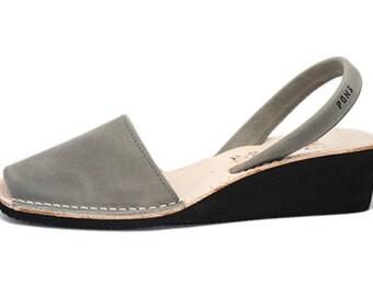Women's grey wedge sandals