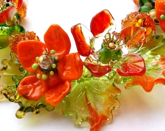 Handmade Lampwork Romantic Floral Necklace, Orange-Green Bouquet, Festive Glass Necklace. Unique Gift, Made to Order
