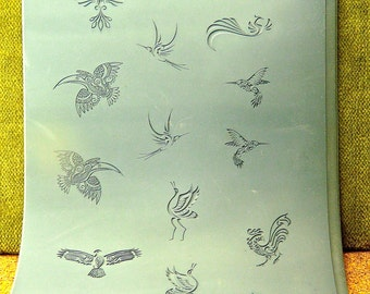 Mega FLYING CREATURES   Ceramic, Polymer, Metal Clay and Inks Texture Tile Rubber Stamp  MGT131