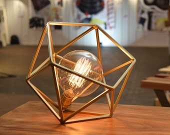The Mercedes Geometric Table Lamp , Gold Table Lamp with Edison Globe Bulb